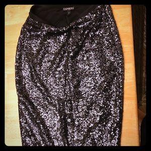 Express black lined sequin skirt